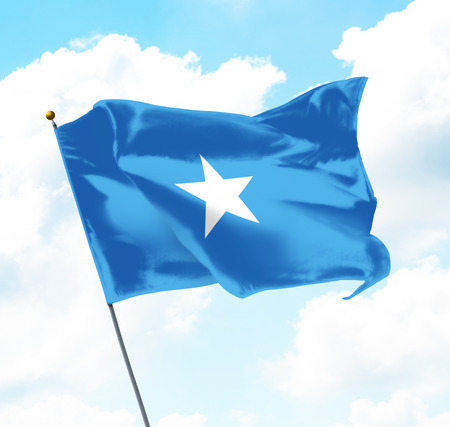 Flag of Somalia Raised Up in The Sky