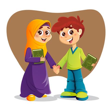 salat: Muslim Boy and Girl Holding Holy Quran Books