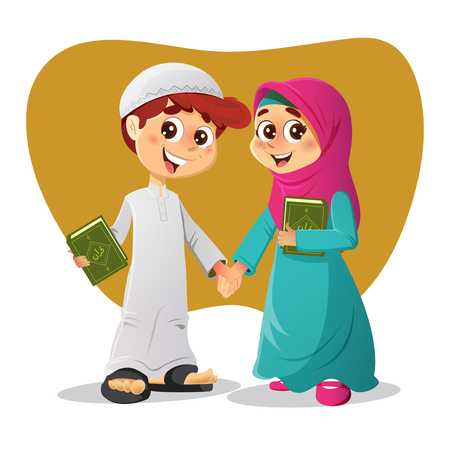 salat: Muslim Arab Boy and Girl Holding Holy Quran Books