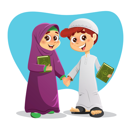 salat: Arab Muslim Boy and Girl Holding Holy Quran Books Illustration