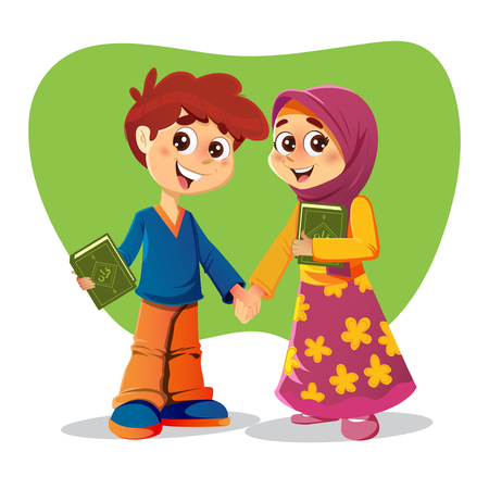 salat: Muslim Brother and Sister Holding Holy Quran Books Illustration