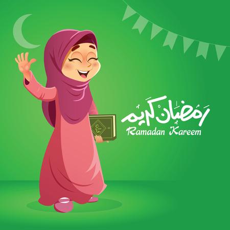 Giovane ragazza musulmana musulmana che tiene scheda di Corano con la mano su