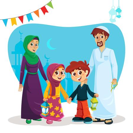 Bonne famille musulmane des parents et des enfants avec des icônes du Ramadan