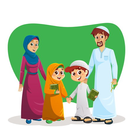 Happy Muslim Family of Parents and Children Holding Quran Book Illustration