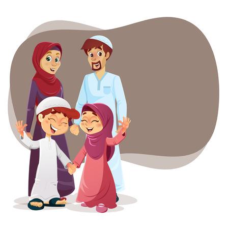Familia musulmana feliz de padres e hijos