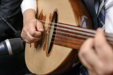 Een muzikant speelt notitie op luit