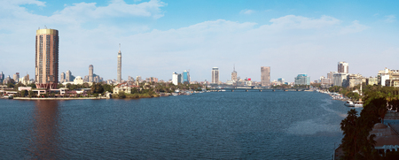Cairo and River Nile Panorama at Daylight Stock Photo