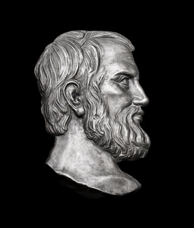 Griekse schrijver Aristophanes op zwarte achtergrond