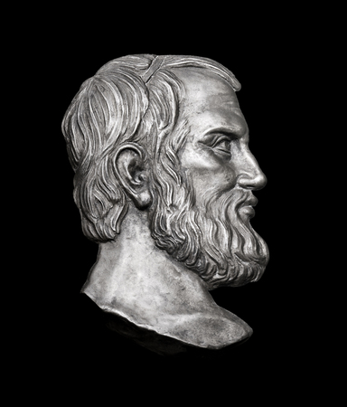 Greek Novelist Aristophanes on Black Background
