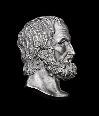 Greek Novelist Euripides on Black Background