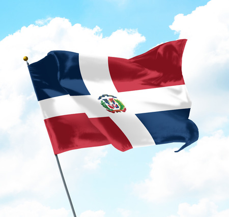 Flag of Dominican Republic Raised Up in The Sky