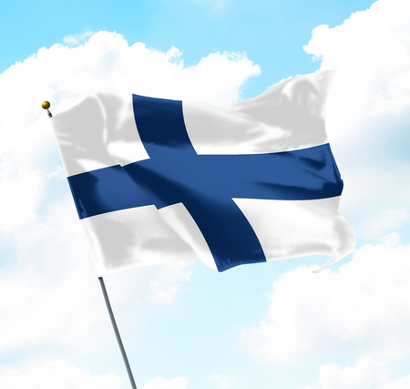 Flag of Finland Raised Up in The Sky Banco de Imagens - 84448582