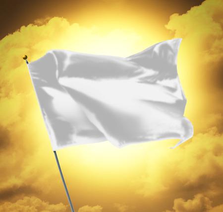 Blank White Flag Over Sky Sunset