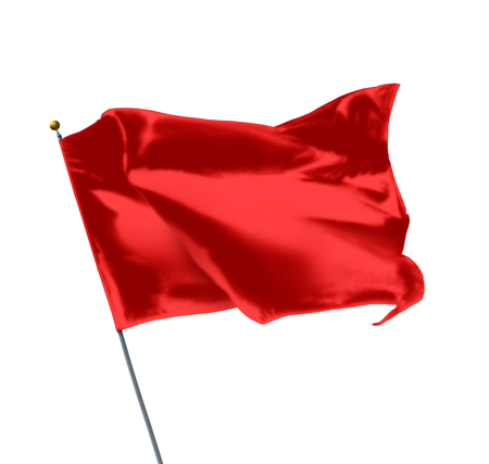 Red Mockup Flag Isolated on White Background
