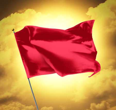 flagstaff: Blank Red Flag Over Sky Sunset Stock Photo