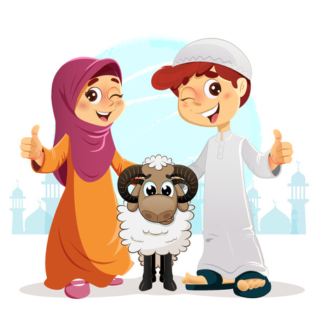 Thumb Up Muslim Boy and Girl with Sheep, Happy Feast Written in Arabic, Traditional Eid Concept