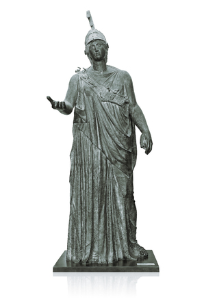 Statue of Athena, The Ancient Goddess of Wisdom and Knowledge on White Foto de archivo