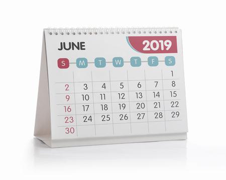June White Office Calendar 2019 Isolated on White Standard-Bild