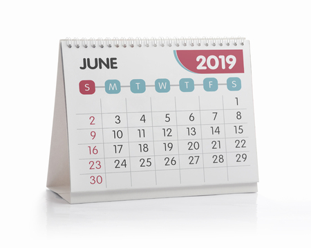 June White Office Calendar 2019 Isolated on White 스톡 콘텐츠