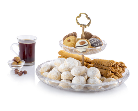 Eid ElFitr Sweet Cookies with Sugar and Tea Isolated Stockfoto
