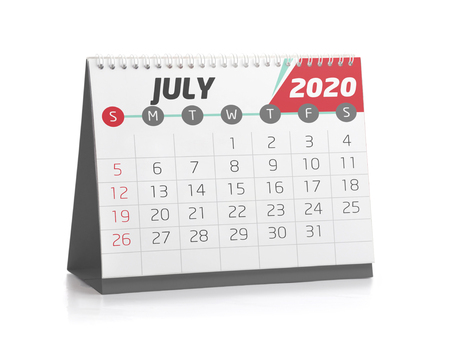 July White Office Calendar 2020 Isolated on White