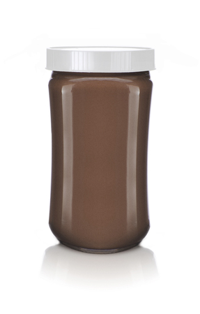 A Glass Jar of Chocolate Isolated on White Backgrund