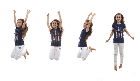 Young Active Happy Girl Jumping in The Air Isolated on White Background, Multiple Poses 版權商用圖片