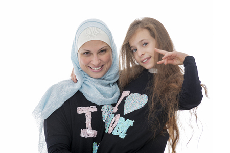 Happy Muslim Mother and Her Daughter Isolated on White Background