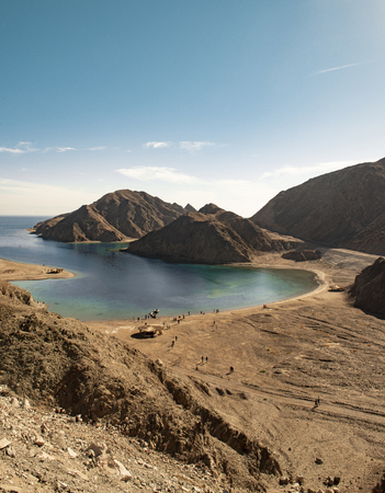 Red Sea Water and Sinai Mountains, Landscape View