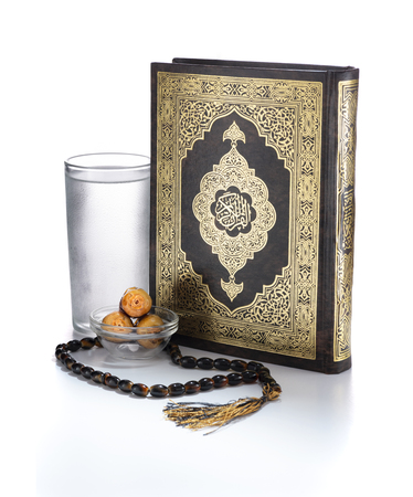 Ramadan Items, Quran Holy Book, Water, Dates and Rosary, Isolated on White Background 版權商用圖片