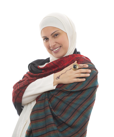 Portrait of Happy Muslim Woman Smiling, Isolated on White Background