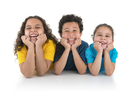 Group of Happy Kids Laughing Isolated on White Background