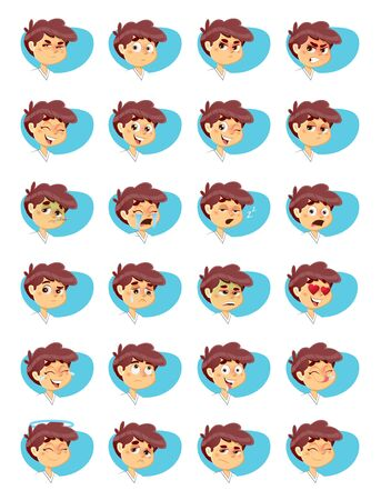 Vector Illustration of Young Boy Various Facial Expressions