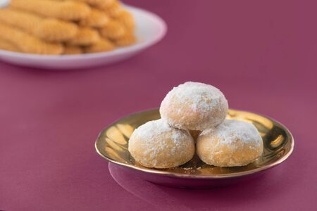 Sweet Eid El-Fitr Cookies, Muslim Lesser Holiday Traditional Sweets, Kaak and Biscuits