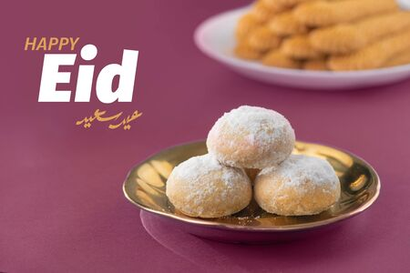 Eid El-Fitr Congratulation, Muslim Lesser Holiday Traditional Cookies, Kaak and Biscuits