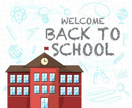 A Back to School Text and A School Red Building  イラスト・ベクター素材