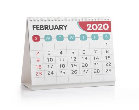 February 2020 Desktop Calendar Isolated on White