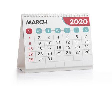 March 2020 Desktop Calendar Isolated on White