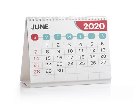 June 2020 Desktop Calendar Isolated on White