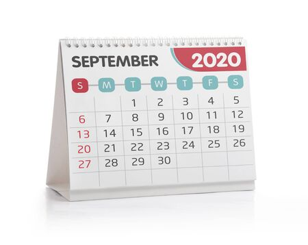 Septemper  2020 Desktop Calendar Isolated on White 版權商用圖片