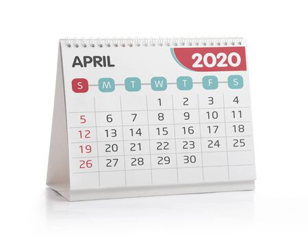 April 2020 Desktop Calendar Isolated on White