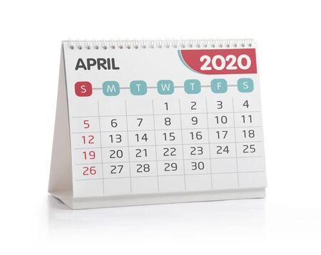 April 2020 Desktop Calendar Isolated on White