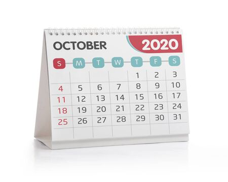 October 2020 Desktop Calendar Isolated on White Stock fotó
