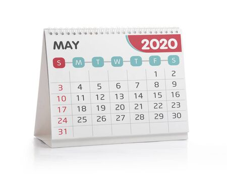 May 2020 Desktop Calendar Isolated on White Stok Fotoğraf