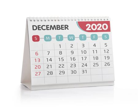 December 2020 Office Calendar Isolated on White