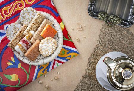 Egyptian Traditional Prophet Muhammad Birthday Celebration Desserts Stock Photo