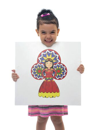 Young Happy Girl Holding A Cardboard Celebrating Birthday of Prophet Muhammed, Al Mawlid Bride Stock Photo