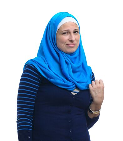 Arab Muslim Woman with Unwilling Facial Expression ,Isolated on White