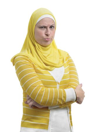 Angry Suspicious Arab Muslim Woman with Unbelieving Emotion, Suspicion Concept, Isolated on White