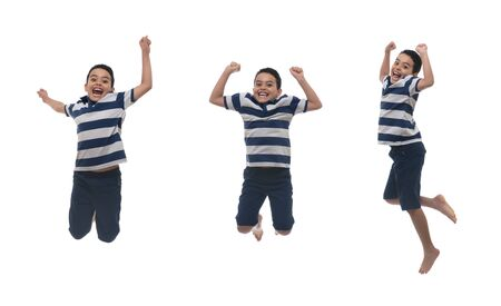Young Happy Boy Jumping, Isolated on White Background Banco de Imagens